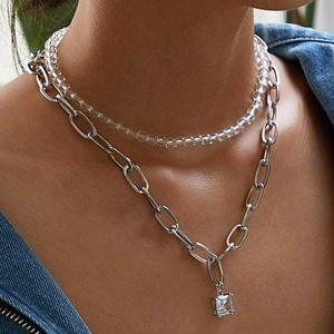 RHINESTONE/PEARL DOUBLE TWO FOR ONE NECKLACE
